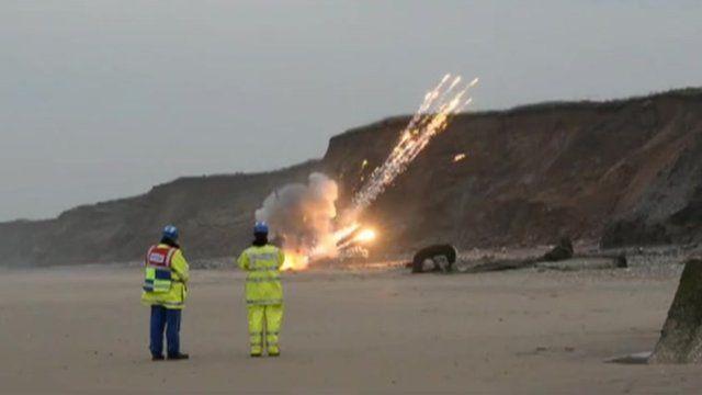 Ammunition blown up on East Yorkshire beach