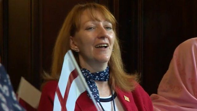 Jeanettte Tranter was among 20 people to become officially British at a special citizenship ceremony in Dudley.