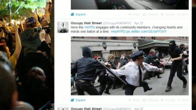 A screen shot from twitter from the myNYPD hastag.