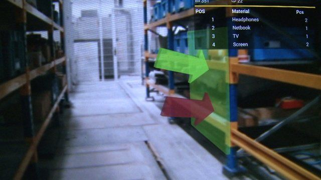 An augmented reality view in a German warehouse
