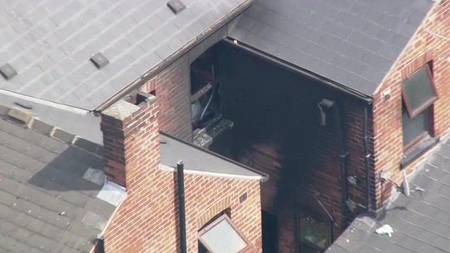 Sheffield house fire aerial picture