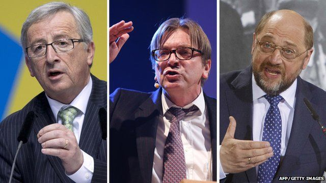 Three of the top rivals to head the Commission (from left): Jean-Claude Juncker, Guy Verhofstadt and Martin Schulz