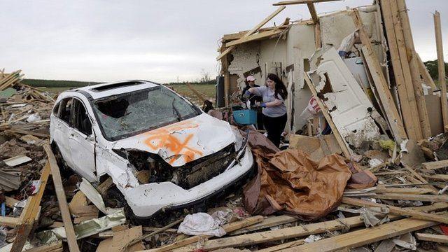 Tornado damage in Vilonia, Arkansas