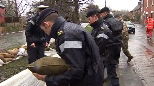 The Royal Navy helping with flood relief in Winchester, Hampshire