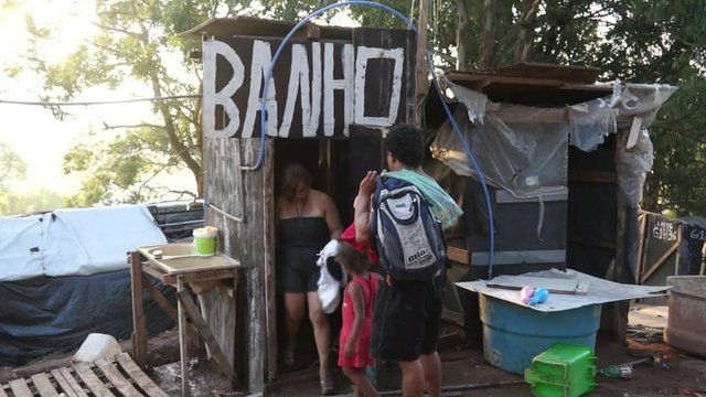 A makeshift bathroom in a Brazilian squatter community