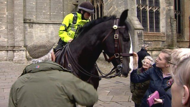 A mounted police officer in Cirencester