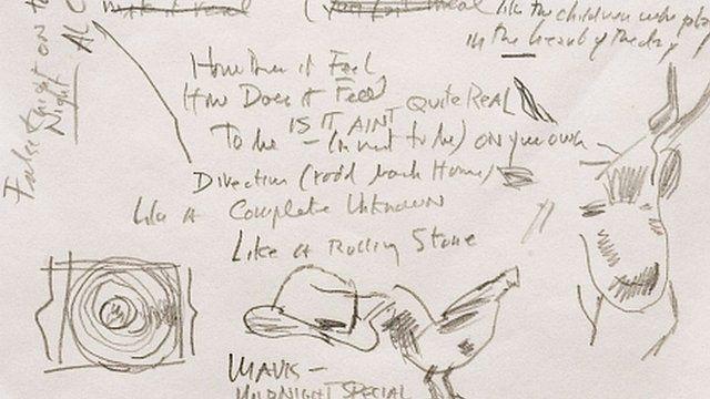Bob Dylan's handwritren lyrics to Like A Rolling Stone