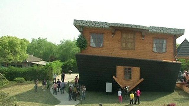 The inverted house in Fengjing, China
