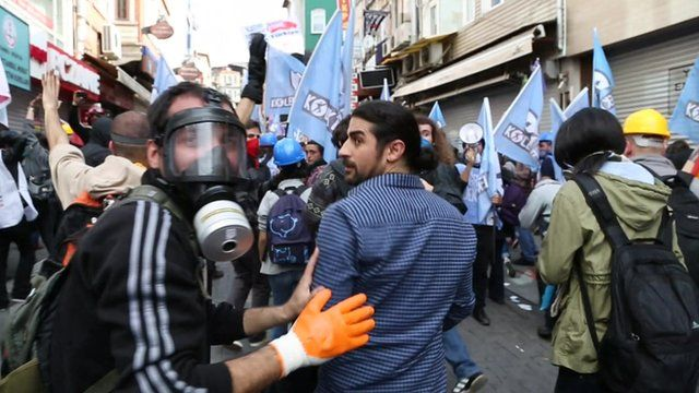 A BBC crew followed some of the demonstrators attending a protest in Istanbul's central Taksim Square