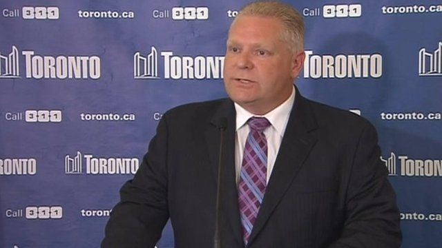 Doug Ford speaks to reporters 1 May 2014