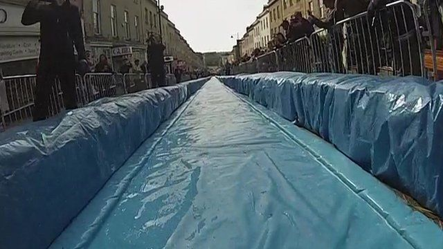 A view of the water slide