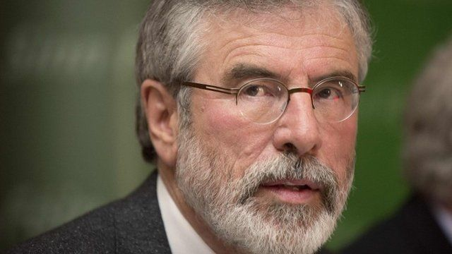 Sinn Fein President Gerry Adams arrives at a news conference after he was released from police detention, in Belfast May 4, 2014