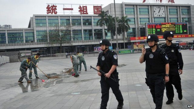 China SWAT team outside station