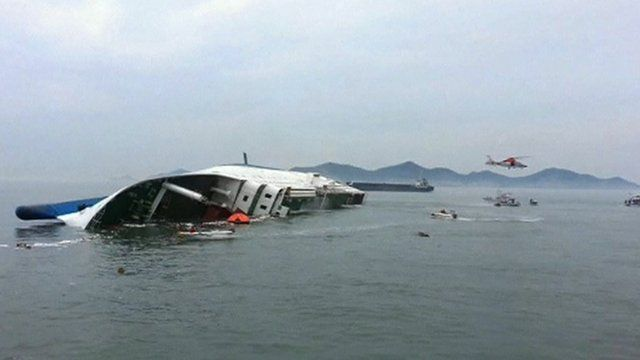 The capsized South Korean ferry