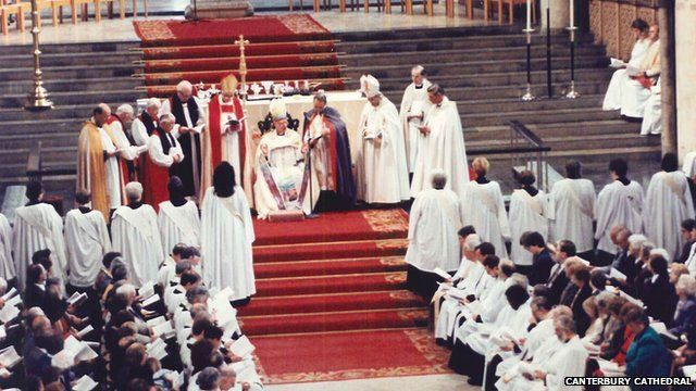 Women priests being ordained in 1994 at Canterbury Cathedral