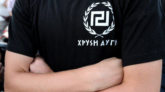 A supporter of extreme-right ultra nationalist party Golden Dawn