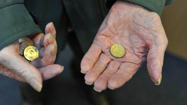 Elderly person with money