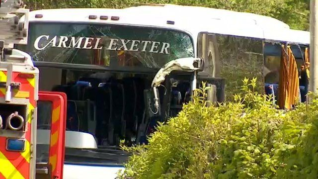 The coach involved in the fatal accident near Looe in Cornwall