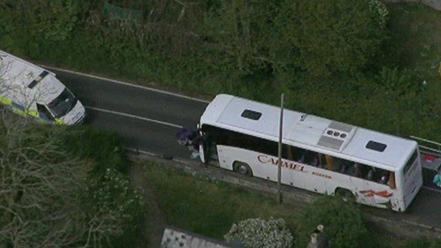 Scene of coach crash