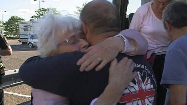 Passengers reunited with relatives and friends