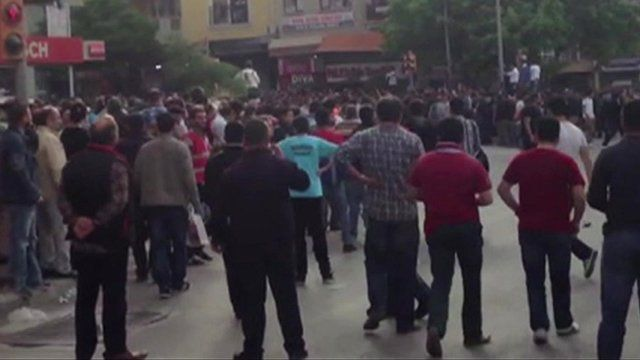 Crowds gather in town of Soma, Turkey