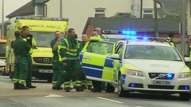 Scene after crash outside the school
