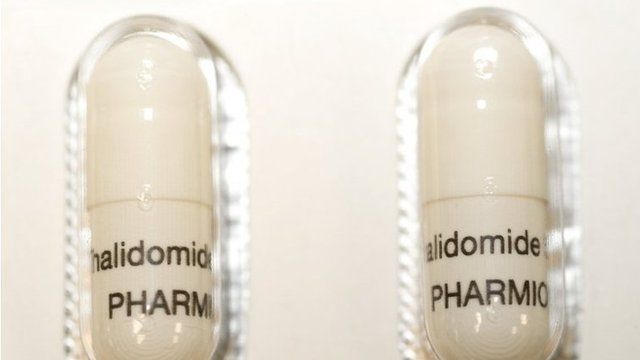 Thalidomide capsules in a blister pack. Thalidomide was prescribed in the late 1950s and early 1960s as a sleep aid and anti-nausea medication for pregnant mothers with morning sickness