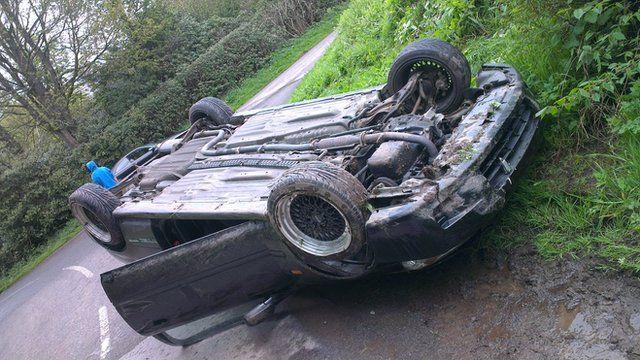 Nathanial's crashed car