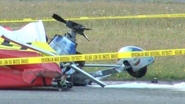 Crash scene at Caernarfon Airport