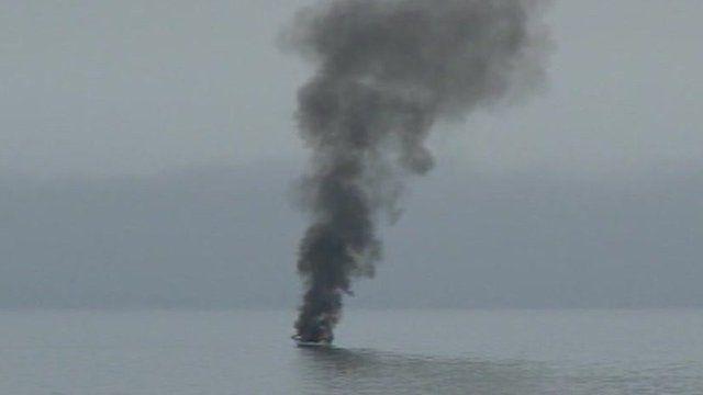 The burning boat