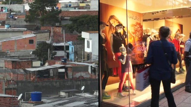 Favela (left), high-end shop (right) in Sao Paulo, Brazil