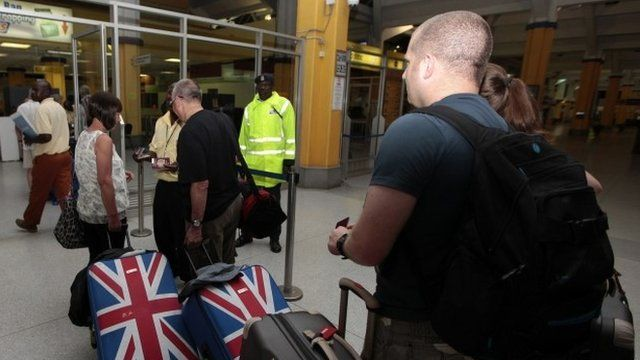 British tourists queuing to leave Mombasa