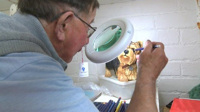 Eric Radford is painting again with the aid of equipment supplied by Blind Veterans UK