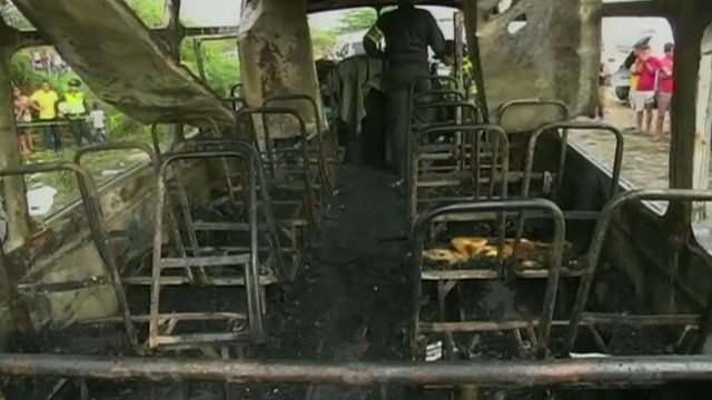 Burnt-out bus interior