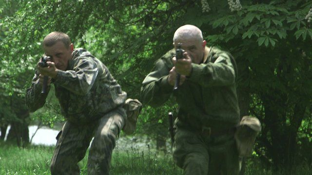 Men training for combat in Ukraine