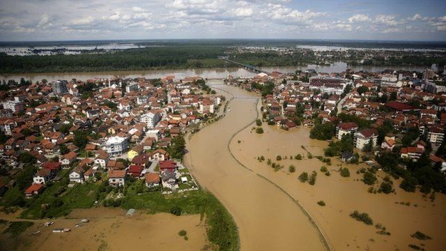 An aerial view of the flooded city of Brcko,