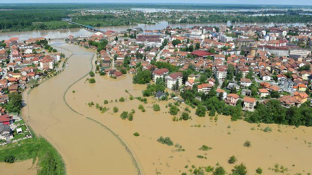 An aerial view shows a flooded area near the Northern-Bosnian town of Brcko
