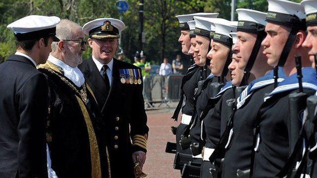 The company of HMS Dragon parade through Cardiff