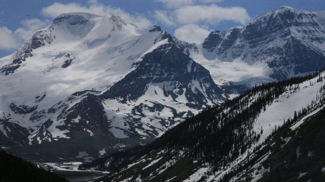 Glaciers along the Continental Divide, Alberta, May 2007. Glacier- and snow-fed systems provide the backbone of water supply not only in Western Canada but also in many other regions in the world.