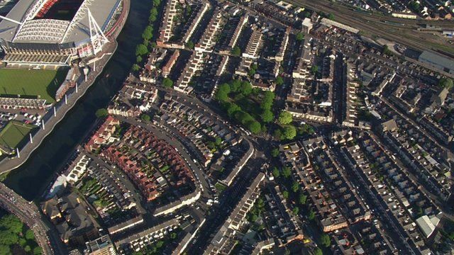 Aerial view of housing