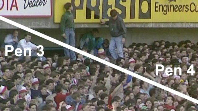 Still from footage showing inside of Hillsborough stadium