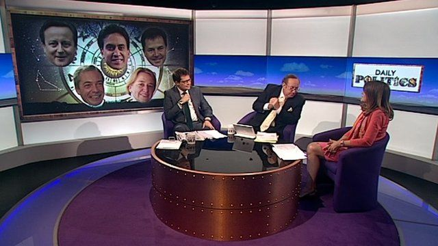 Pollster Ben Page, presenter Andrew Neil and astrologer Debbie Frank,