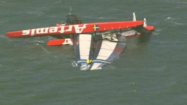 The Artemis Racing vessel after the accident in San Francisco Bay