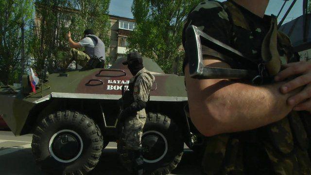 Armed men in Donetsk
