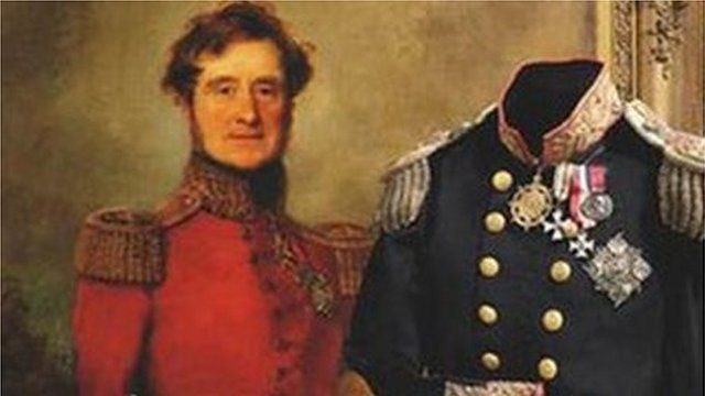 A portrait of Field Marshall Lord Raglan and artefacts in the collection