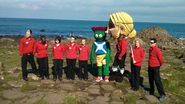 Queen's baton visits the Giant's Causeway in Northern Ireland