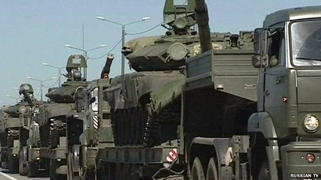 Russian TV aired video it said showed military vehicles pulling back from the Ukrainian border