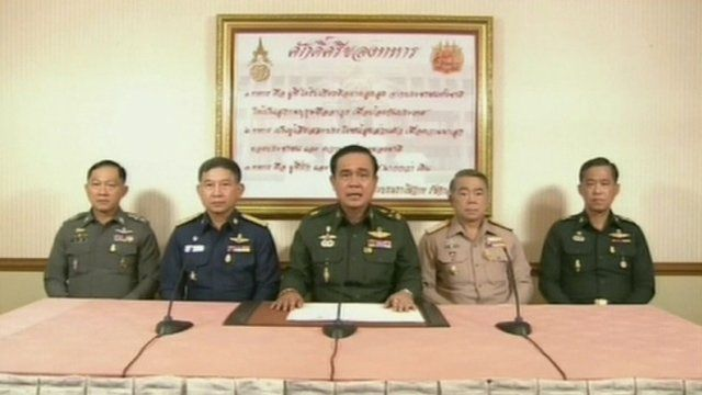 General Prayut Chan-O-Cha announced the military had seized power on TV