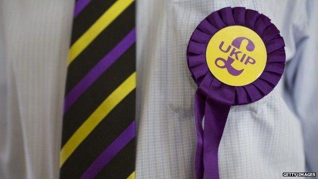 Man wearing UKIP rosette