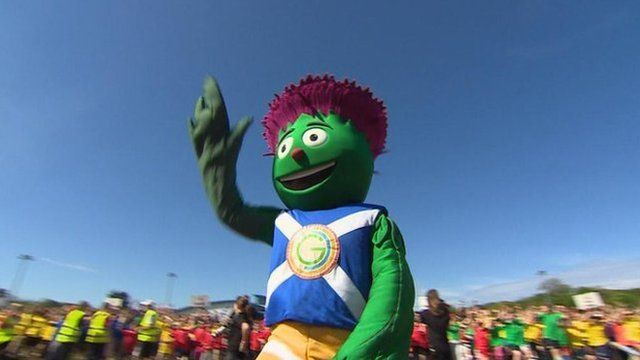 The commonwealth games mascot waves to the crowd